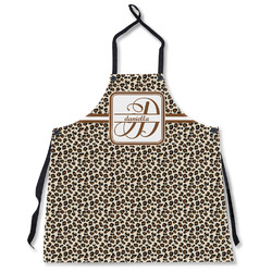 Leopard Print Apron Without Pockets w/ Name and Initial