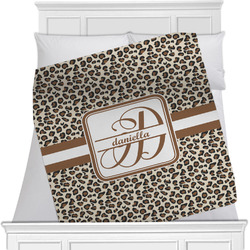 "Leopard Print Fleece Blanket - Twin / Full - 80""x60"" - Single Sided (Personalized)"