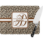 Leopard Print Rectangular Glass Cutting Board (Personalized)