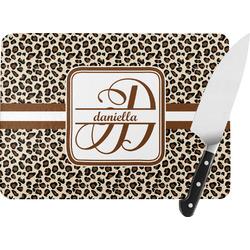Leopard Print Rectangular Glass Cutting Board (Personalized)