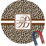 Leopard Print Round Magnet (Personalized)