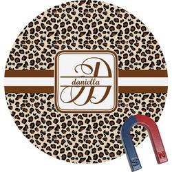 Leopard Print Round Fridge Magnet (Personalized)