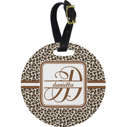 Leopard Print Plastic Luggage Tag - Round (Personalized)