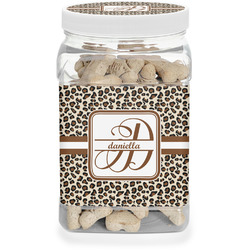 Leopard Print Dog Treat Jar (Personalized)