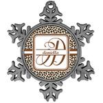 Leopard Print Vintage Snowflake Ornament (Personalized)