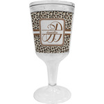 Leopard Print Wine Tumbler - 11 oz Plastic (Personalized)