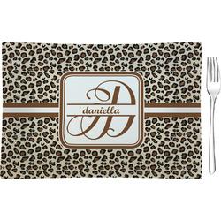 Leopard Print Rectangular Glass Appetizer / Dessert Plate - Single or Set (Personalized)