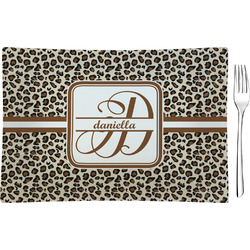 Leopard Print Rectangular Glass Appetizer / Dessert Plate - Single or Set (Personalized)
