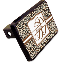 "Leopard Print Rectangular Trailer Hitch Cover - 2"" (Personalized)"