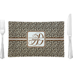 Leopard Print Rectangular Glass Lunch / Dinner Plate - Single or Set (Personalized)