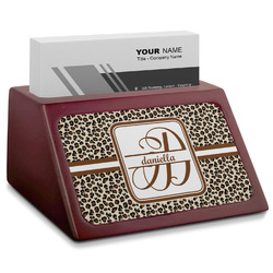 Leopard Print Red Mahogany Business Card Holder (Personalized)