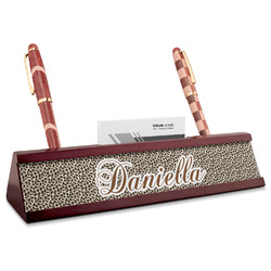 Leopard Print Red Mahogany Nameplate with Business Card Holder (Personalized)
