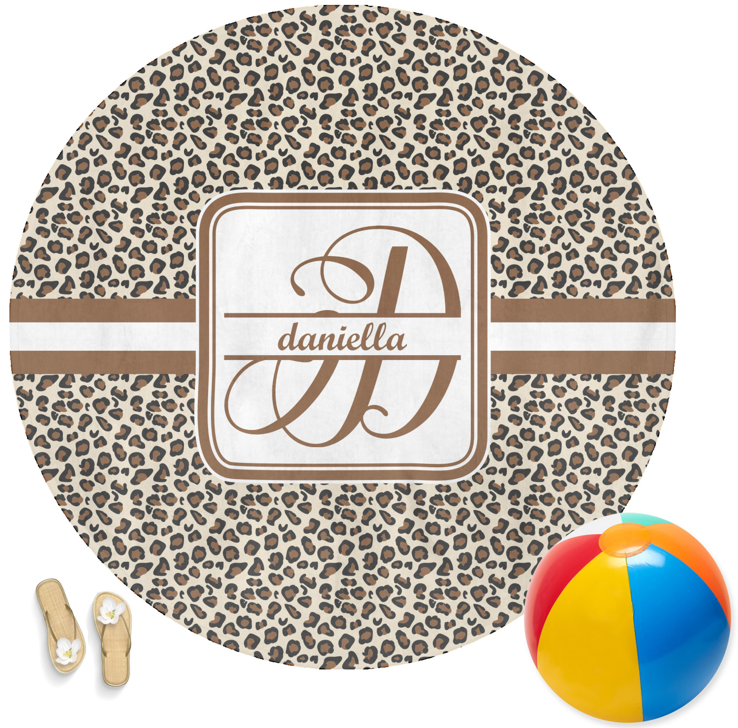 Leopard Print Round Beach Towel Personalized
