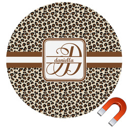 Leopard Print Round Car Magnet (Personalized)