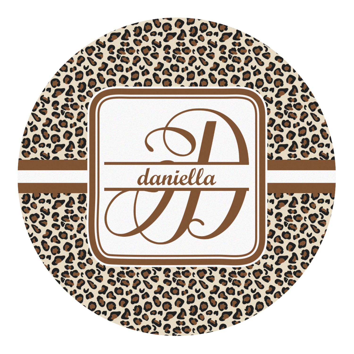 Leopard Print Round Decal  Large (personalized. Potato Signs Of Stroke. Leo Star Signs. Work Anniversary Banners. Mid Season Sale Banners. Cinderella Stickers. Peripheral Signs Of Stroke. Name Label Stickers. Chill Stickers