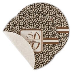 Leopard Print Round Linen Placemat (Personalized)