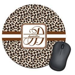 Leopard Print Round Mouse Pad (Personalized)