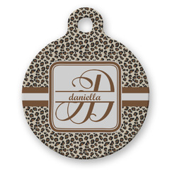 Leopard Print Round Pet Tag (Personalized)