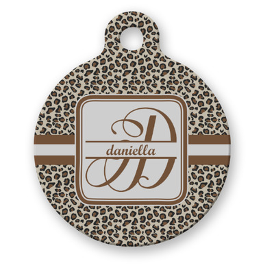 Leopard Print Round Pet ID Tag (Personalized)