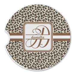 Leopard Print Sandstone Car Coasters (Personalized)