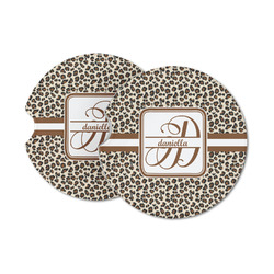Leopard Print Sandstone Car Coasters (Personalized)