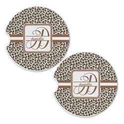 Leopard Print Sandstone Car Coasters - Set of 2 (Personalized)
