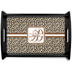 Leopard Print Black Wooden Tray (Personalized)