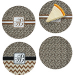 "Leopard Print Set of 4 Glass Appetizer / Dessert Plate 8"" (Personalized)"