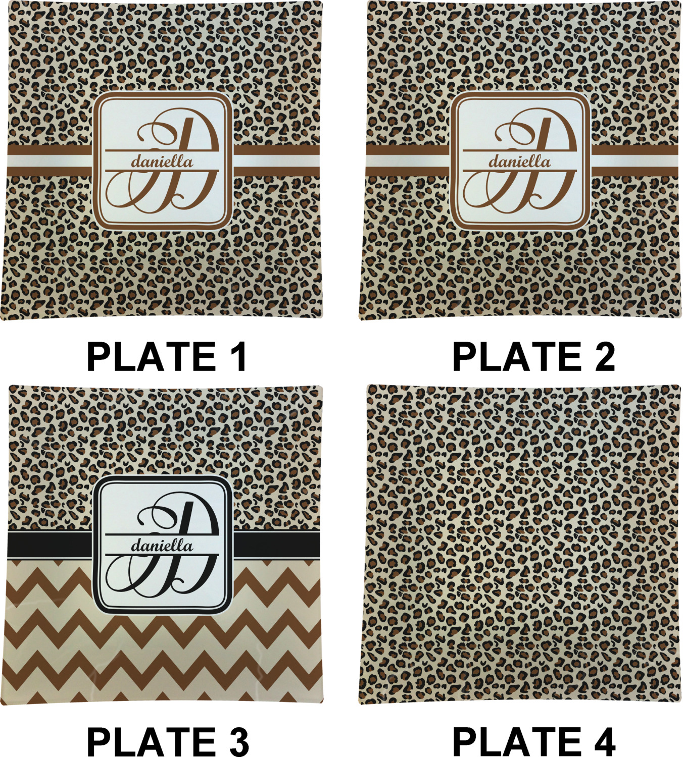Leopard Print Set Of 4 Glass Square Lunch Dinner Plate 9