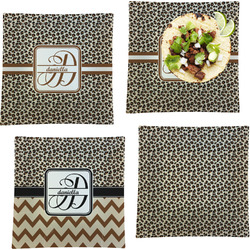 """Leopard Print Set of 4 Glass Square Lunch / Dinner Plate 9.5"""" (Personalized)"""