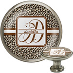 Leopard Print Cabinet Knob (Silver) (Personalized)