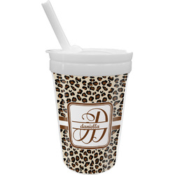 Leopard Print Sippy Cup with Straw (Personalized)