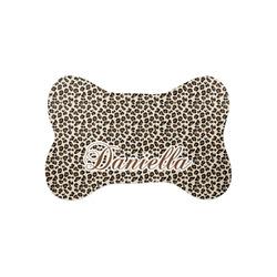 Leopard Print Bone Shaped Dog Food Mat (Small) (Personalized)