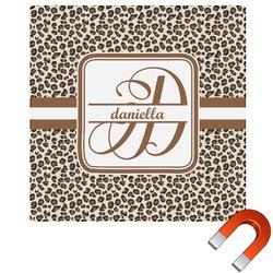 Leopard Print Square Car Magnet (Personalized)