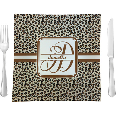 """Leopard Print 9.5"""" Glass Square Lunch / Dinner Plate- Single or Set of 4 (Personalized)"""