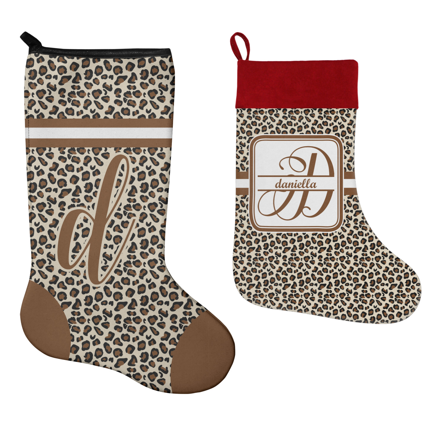 Leopard Print Christmas Stocking Neoprene Personalized
