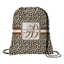 Leopard Print Drawstring Backpack - Small (Personalized)