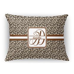 "Leopard Print Rectangular Throw Pillow Case - 12""x18"" (Personalized)"