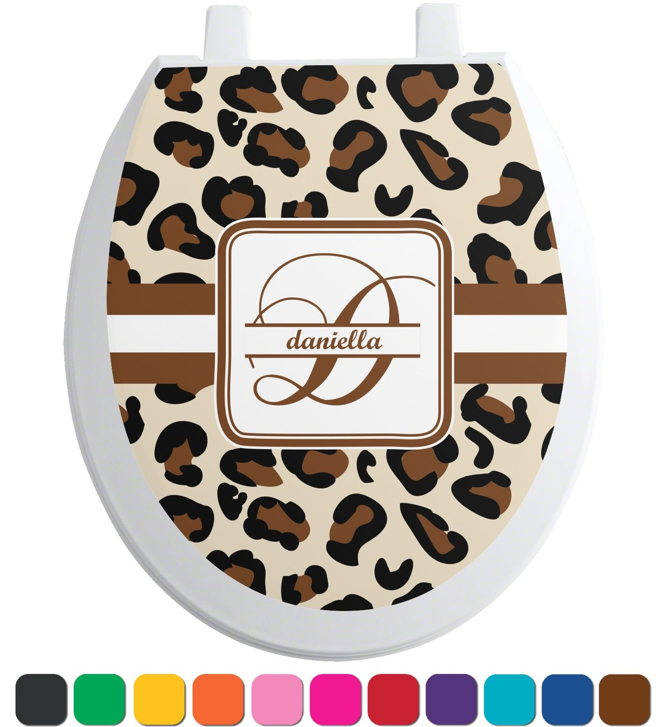 leopard print toilet seat decal elongated personalized. Black Bedroom Furniture Sets. Home Design Ideas