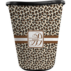 Leopard Print Waste Basket - Double Sided (Black) (Personalized)