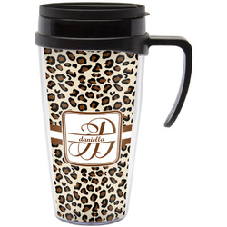Leopard Print Travel Mug with Handle (Personalized)