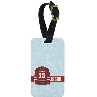 Hockey Metal Luggage Tag w/ Name and Number