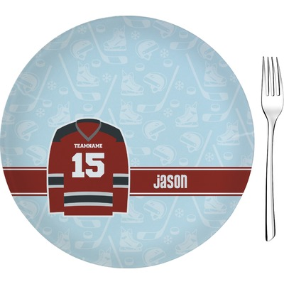 "Hockey 8"" Glass Appetizer / Dessert Plates - Single or Set (Personalized)"