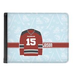 Hockey Genuine Leather Men's Bi-fold Wallet (Personalized)