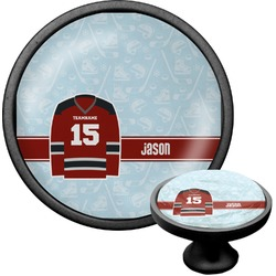 Hockey Cabinet Knob (Black) (Personalized)