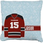 Hockey Faux-Linen Throw Pillow (Personalized)