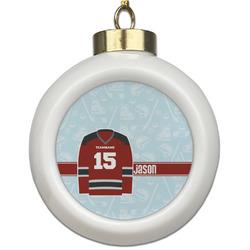 Hockey Ceramic Ball Ornament (Personalized)