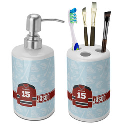 Hockey Ceramic Bathroom Accessories Set (Personalized)