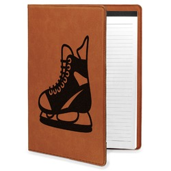 Hockey Leatherette Portfolio with Notepad (Personalized)