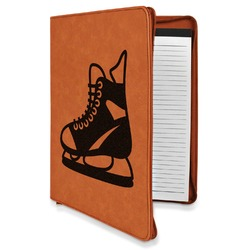 Hockey Leatherette Zipper Portfolio with Notepad (Personalized)